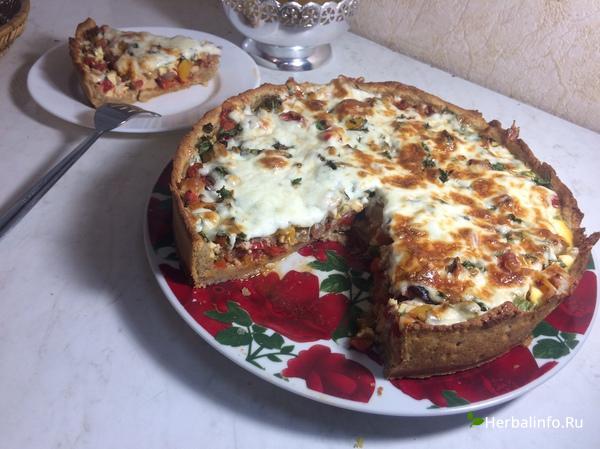 пп пирог с куриным мясом и овощами