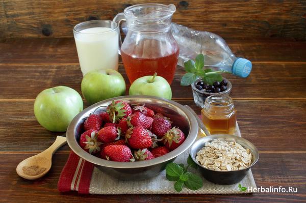 приготовление фруктового смузи - ингредиенты