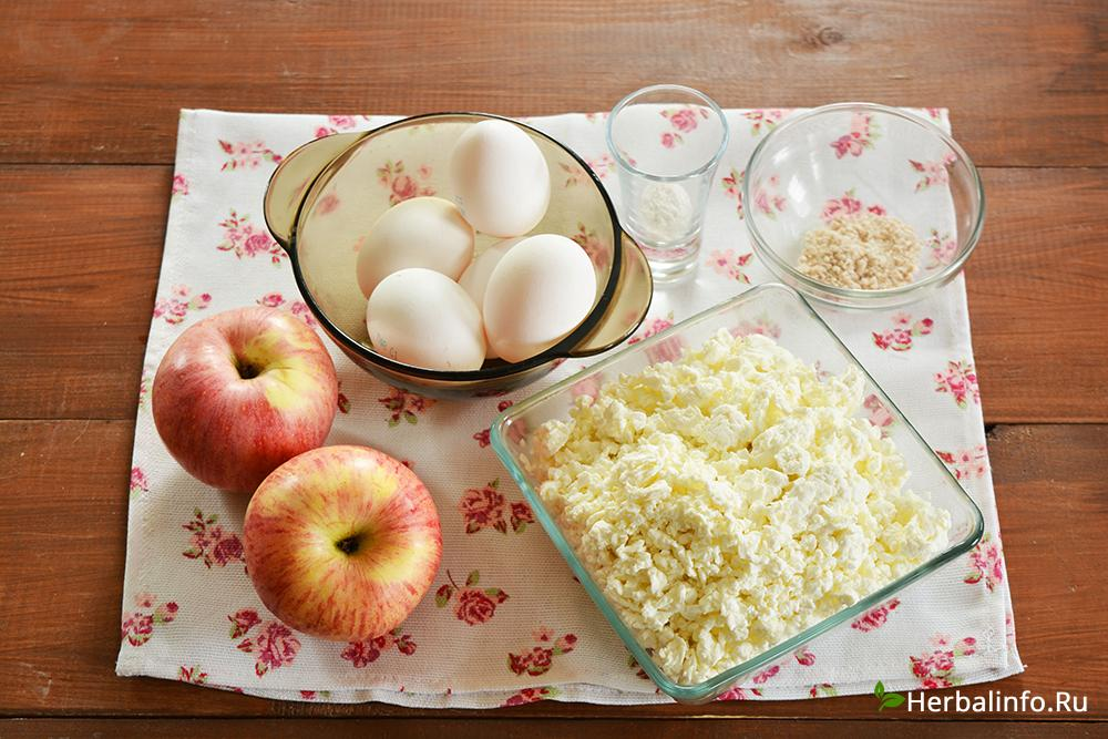 ингредиенты для приготовления полезного сырника с яблоками