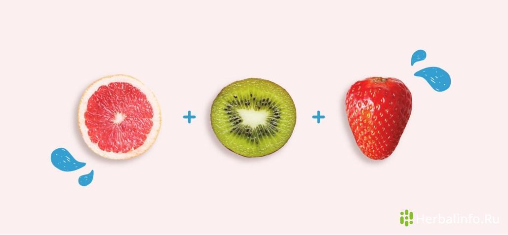 Иммуно-активизирующий фруктовый салат:грейпфрут, киви, клубника