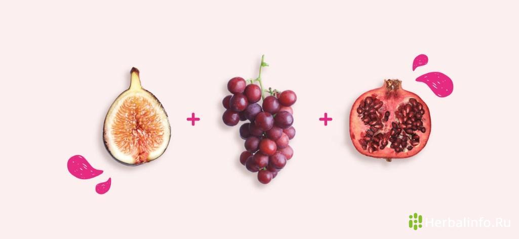 Антиоксидантный салат:инжир, красный виноград, гранат