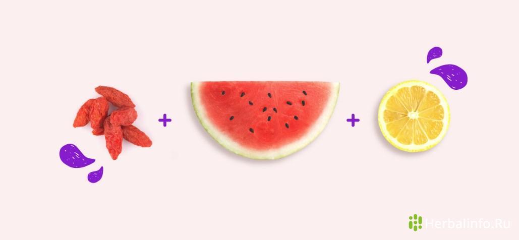Детокс салат:ягоды Годжи, арбуз, лимон