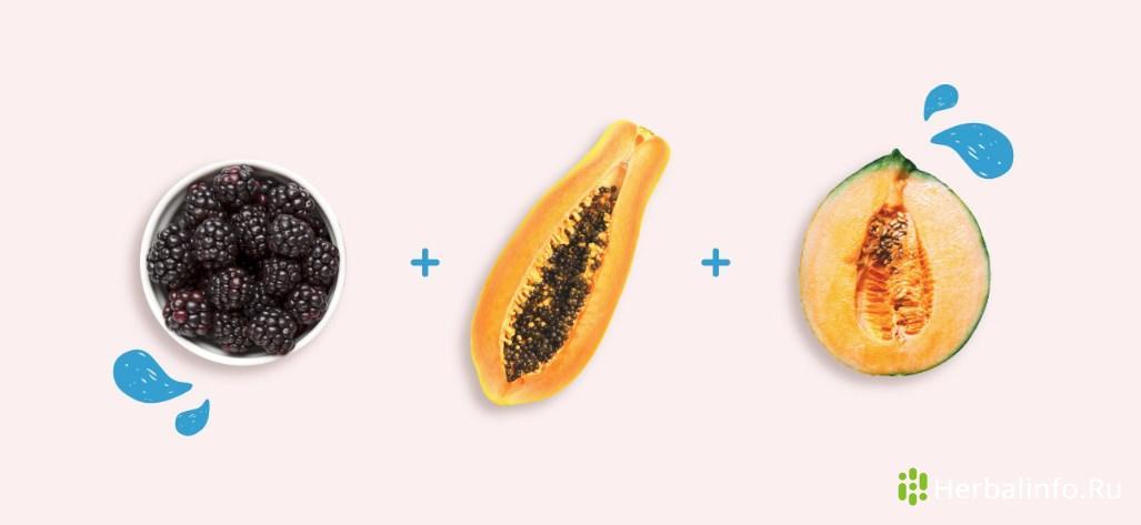 Салат для красоты: ежевика, папайя, дыня