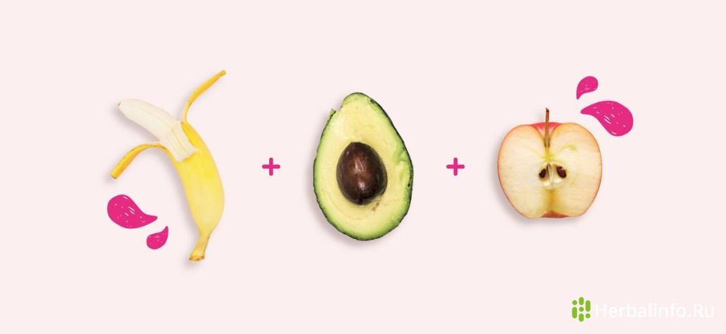 Энергетический салат: банан, авокадо, яблоко